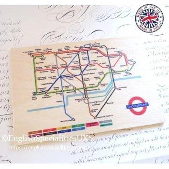 Tube Map Wooden Postcard<br>ロンドンチューブマップ*木のポストカード*