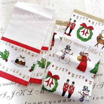 【Milly Green】Merry Little Christmas - Set of Two  Tea Towel<br>ミリーグリーン メリーリトルクリスマス ティータオル(2枚組)
