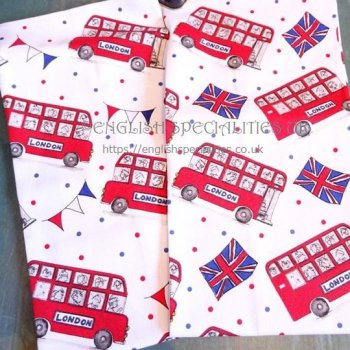 【Milly Green】London Buses - Set of Two  Tea Towel<br>ミリーグリーン ロンドンバス ティータオル(2枚組)