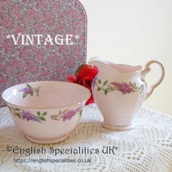 【TUSCAN】Lilac Time Milk Jug & Sugar Bowl *VINTAGE*<br>タスカン ライラックタイム *ヴィンテージ* ミルクジャグ&シュガーボウル 1947年