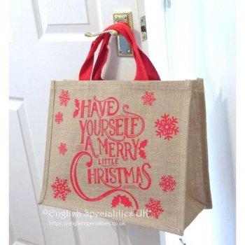 【TESCO】Jute Eco Merry Little Christmas Bag<br>テスコ ジュート メリーリトルクリスマス エコバッグ