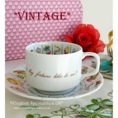 ★VINTAGE★ ZODIAC Fortune Cup & Saucer Made in Japan<br>日本製 *ヴィンテージ*星座フォーチュンティーカップ&ソーザー