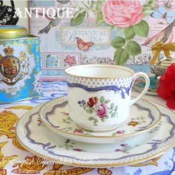 【AYNSLEY】Antique Roses & Flowers Teacup Trio<BR>エインズレイ 薔薇と花のアンティークティーカップトリオ(1905年〜)