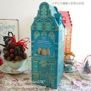 <img class='new_mark_img1' src='https://img.shop-pro.jp/img/new/icons15.gif' style='border:none;display:inline;margin:0px;padding:0px;width:auto;' />【M&S】 Xmas Musical House BLUE Tin/ Shortbread<br>クリスマス ハウス オルゴール・ ブルー缶/ショートブレッド