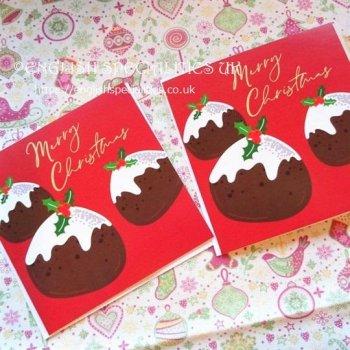 Christmas Pudding Christmas Card X 2<br> クリスマスプディング クリスマスカード 2枚セット