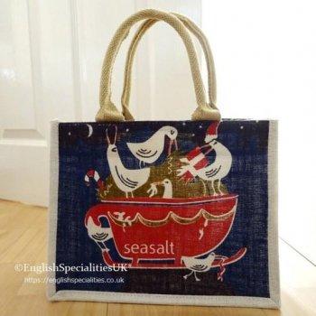 【SEASALT】Cute Jute Bag - Seagull Sleigh <br>シーソルト キュートジュート エコバッグ シーガル スレイ