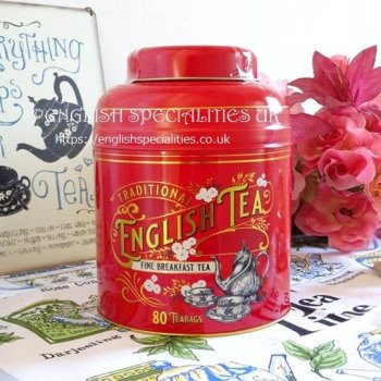 【New English Teas】RED Victorian Breakfast 80 Teabags<br>ニューイングリッシュティーズ ヴィクトリアン レッド缶
