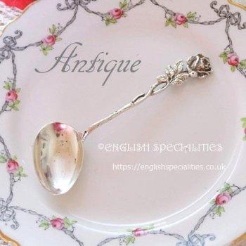 German Silver Antique Feeding Spoon Rose Motif<br>ドイツ製シルバー アンティークフィーディングスプーン ローズモチーフ (1888〜)