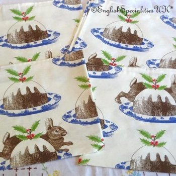 <img class='new_mark_img1' src='https://img.shop-pro.jp/img/new/icons15.gif' style='border:none;display:inline;margin:0px;padding:0px;width:auto;' />【Thornback & Peel】Christmas Pudding Napkin Set of Four<br>ソーンバック&ピール  クリスマスプディング ナプキン4枚セット(英国製)