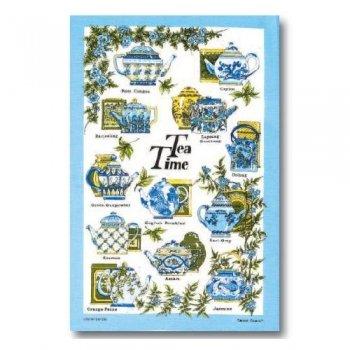 【McCAW ALLAN】Linen Union Tea Towel:TEA TIME <br>マッコウアラン リネンユニオン ティータオル:ティータイム