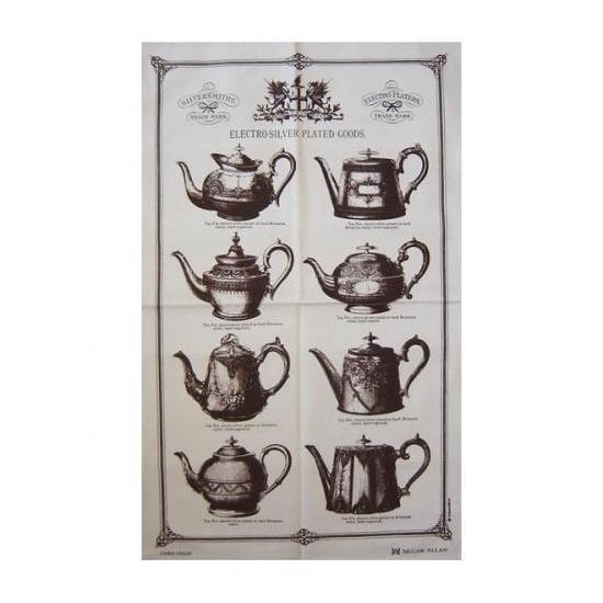 【McCAW ALLAN】Linen Union Tea Towel:TEA POTSマッコウアラン リネンユニオン ティータオル:ティーポット(ダークブラウン)