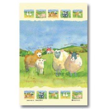 【McCAW ALLAN】L/Union T/Towel:BARLEY FARM SHEEP<br>EMMA BALL リネンユニオンティータオル:シープ