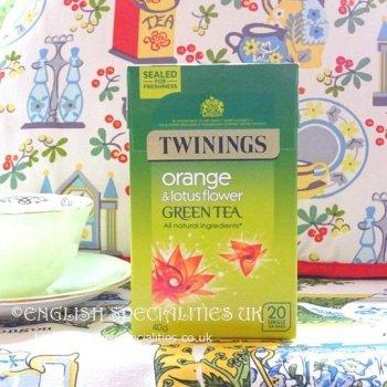 【Twinings】 Green Tea Orange&Lotus<br>トワイニング グリーンティー オレンジ&ロータス: 20バッグ