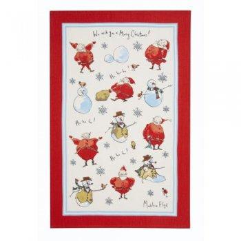 【Ulster Weavers】MF Santa & Snowmen Linen Tea Towel<br>サンタ&スノーマン リネンティータオル
