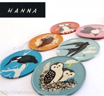 【John Hanna】Country Fair British Birds 6 Tin Coasters<br>ジョン・ハンナ カントリーフェア  ティンコースター(6枚セット)