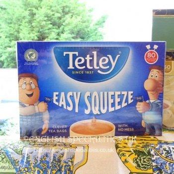 【Tetley】Easy Squeeze Draw String 80 Teabags <br>テトリー  イージースクイーズ ドローストリング紅茶: 80ティーバッグ