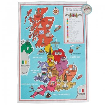 【dotcomgiftshop】 British School Map TEA TOWEL<br> ブリティッシュ スクールマップ ティータオル