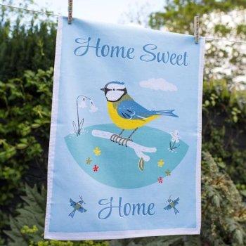 【dotcomgiftshop】Home Sweet Home Blue Tit Design TEA TOWEL<br>ドットコムギフトショップ ホームスイートホーム ブルーティット ティータオル
