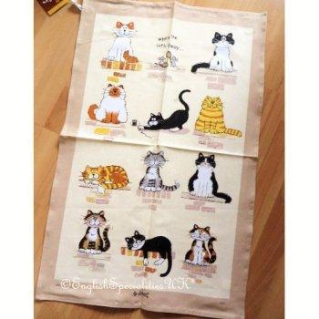 【Samuel Lamont】When The Cats Away Linen Union Tea Towel <br>サミュエルラモント キャッツ・アウェイ リネンユニオン ティータオル