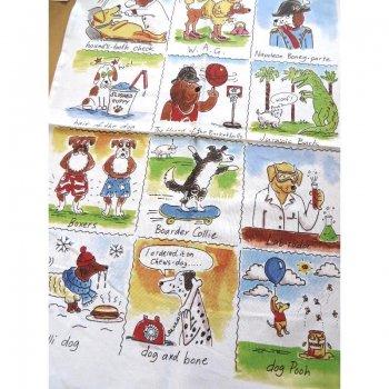 【McCAW ALLAN】Fun With Dogs Linen Union Tea Towel <br>マッコウアラン ファンwithドッグ リネンユニオン ティータオル