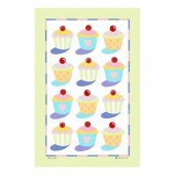 【McCAW ALLAN】Cup Cakes Linen Union Tea Towel<br>カップケーキ リネンユニオン ティータオル