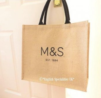 【M&S】Logo Jute Eco Bag<br>マークス&スペンサー ロゴ ジュート抗菌エコバッグ