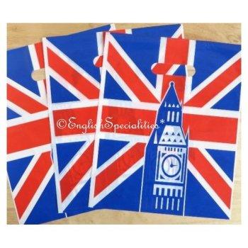 Union Jack Big Ben Plastic Bag(S) x3<br>ユニオンジャック ビッグベン  ビニール手提げバッグ S (3枚セット)