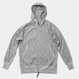 Merino Full Zip Hoody Grey Marl