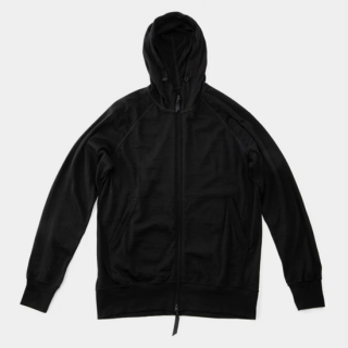 Merino Full Zip Hoody Black