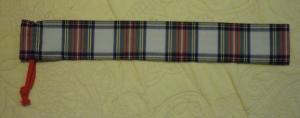 竹の30センチものさし入れ用片引き巾着5×33【タータンチェック《白系赤緑》柄】