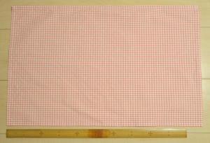 サーモンピンク3mmチェック柄綿ポリ給食用ランチョンマット55×35