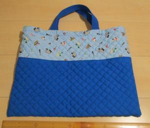水色に車柄と青キルティング18.5手提げ用絵本バッグ通学バッグ