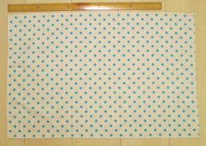 60×40給食用の大きめランチョンマット【麻ポリエステル生成り水色ドット柄】