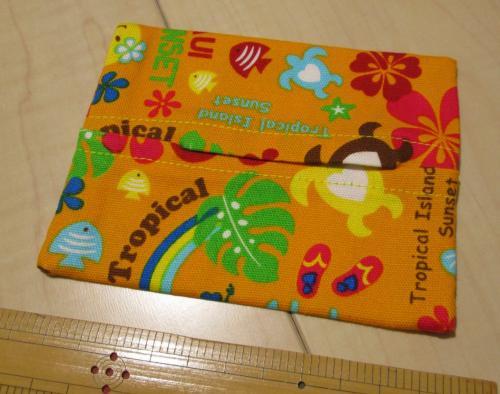 普通サイズポケットティッシュカバー9cm×11.5cm【オレンジ色地にハワイアンいっぱい柄綿】