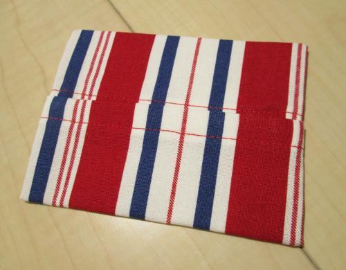 普通サイズポケットティッシュカバー9cm×12cm【赤紺シマシマ柄綿】