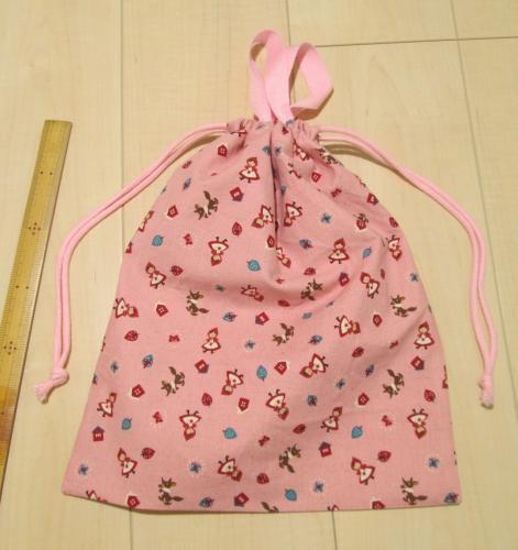 大きめ持ち手付き両引き巾着【綿麻赤ずきん柄ピンク】35×30