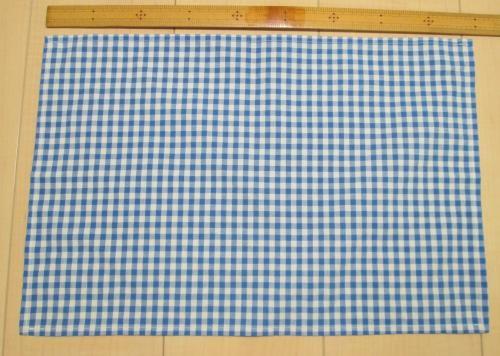 45×30給食用ランチクロス【ブルー5mmチェック柄綿ポリ素材】