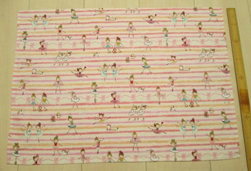 55×40サイズ給食用綿ランチョンマット【いろいろピンクのボーダーにバレリーナ柄綿】