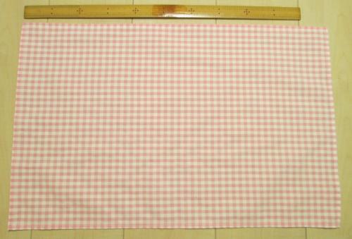 ピンク5mmチェック柄綿ポリ給食用ランチョンマット55×35