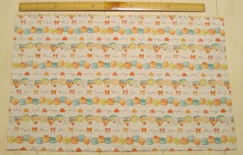 55×35サイズ給食用長方形ランチョンマット【マカロンボーダー黄色綿麻】