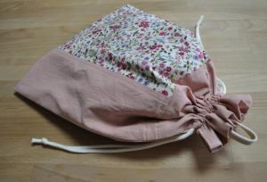 体操服袋(ピンク×花柄)Lサイズの大きめ巾着【縦40×横30】