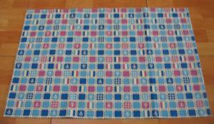 ブルー&パープルスクエアのイカリ柄綿麻大きめランチョンマット60×40