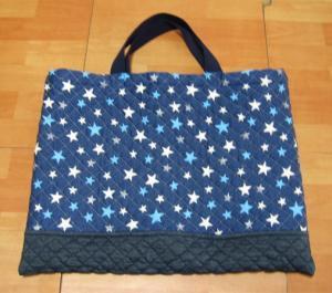 紺の無地と紺に星柄横切り替えBキルティング手提げ用絵本バッグ通学バッグ