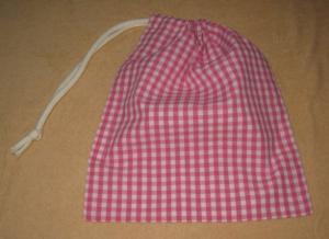 濃いピンクのギンガムチェック片引き巾着袋22×19.5