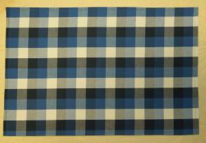紺&青&白の3センチ幅チェック柄綿大きめランチョンマット40×60