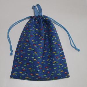 赤・青・緑の車とお家柄綿麻素材ブルー持ち手付巾着袋38×30
