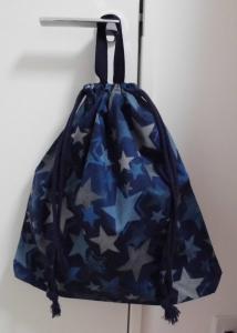 大きめLLサイズ持ち手つき巾着45×42【紺濃いめの星柄】