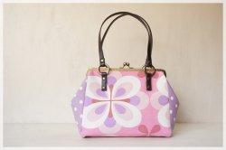 ■ヴィンテージ生地のがま口2wayバッグ / ピンクの大きな花■ salon (pbf)