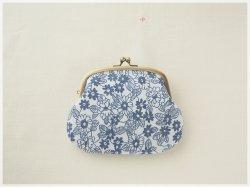 ■花柄ヴィンテージ生地の親子がま口財布・青い花■ plum(vf-lbb)