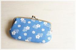 ■ヴィンテージ生地の親子がま口長財布 /  ブルーに白の小花■ ticket(vf-bbf)